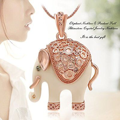 Kemstone Ivory Enamel Elephant Rose Gold Tone  Pendant Necklace Women Jewelry - Gold Enamel Elephant