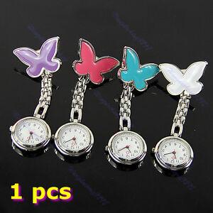 HOT-Butterfly-Nurse-Clip-on-Fob-Brooch-Pendant-Hanging-Pocket-Watch-Fobwatch