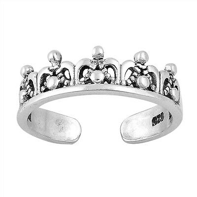 .925 Sterling Silver Classic Crown Fashion Summer Toe Ring NEW
