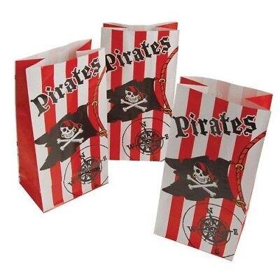 12 - Papier Piraten Papierbeutel Goodie Beutel Party Totenkopf Flagge
