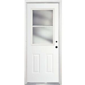 "32"" Exterior White Metal Door with Frame"
