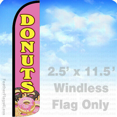 Donuts - Windless Swooper Flag Feather Banner Sign 2.5x11.5 - Pz