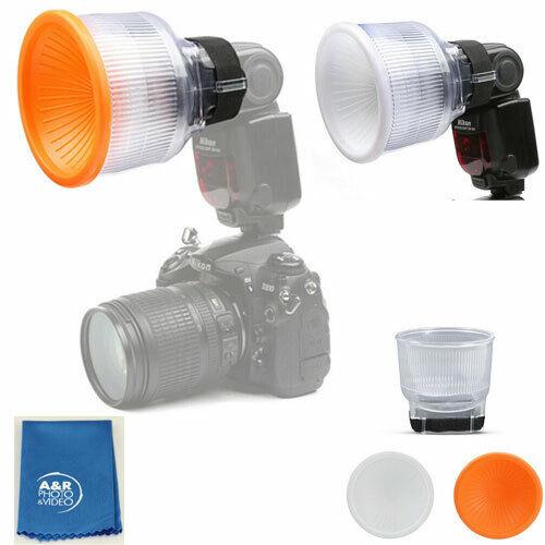 Universal Cloud Lambency Flash Diffuser +Orange White Dome Cover for Canon Nikon
