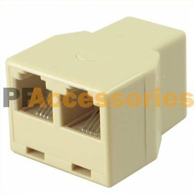 1 to 2 Female RJ11 Telephone 4C Phone Jack Line Splitter Adapter Connector Beige