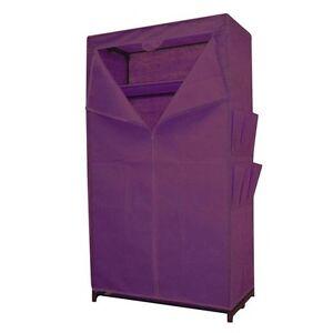 Stoffkleiderschrank-lila-mit-Ablage-Kleiderschrank-Stoffschrank-Campingschrank