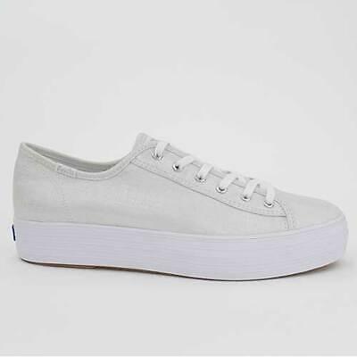 Schuhe Keds Schuh (KEDS DAMEN SCHUHE TRIPLE KICK METALLIC SILVER SILBER CANVAS WF58063)