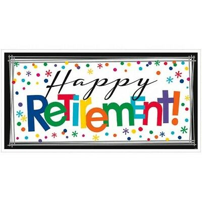 RETIREMENT GIANT PLASTIC BANNER ~ Adult Birthday Party Supplies OTH Happy