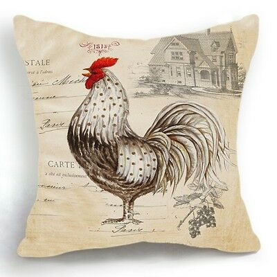 Design 18 39 39 Cushion Cover Pillow Case Beige Chicken Rooster Home