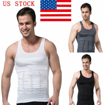 (Men Trainer Body Shaper Slim Tummy Control Girdle Shirt Vest Corset Exercise Top)