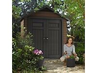 Keter Fusion Large 7.5 X 4 Ft Wood Plastic Composite Outdoor Garden Storage. New. RPP: 800£
