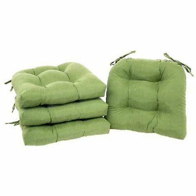 Chair Pads Set of 4 with Ties Cushion Seat Support Kitchen Sofa Patio Green