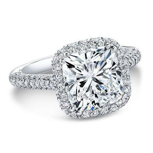 1.90 Ct Natural Cushion Halo 3 Row Micro Pave Diamond Engagement Ring - GIA Cert