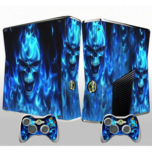 XBOX 360 Slim Vinyl Skin Sticker Decal Blue Skull Heads & 2 New Controller Skins