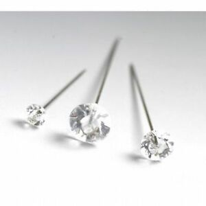 100 Diamante diamonte pins 4cm (1.5 inch) buttonholes weddings - Asst colours