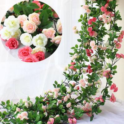 (2.45m Long Silk Rose Flower Ivy Vine Leaf Garland Wedding Party Home Decoration)