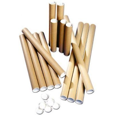 1 Postal Tubes Extra Strong Quality Cardboard A2 465MMx76.5MM+Plastic End Caps