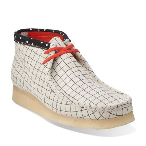 Clarks Originals Men Wallabees Boot Black / White Grid UK 9,10,11 G