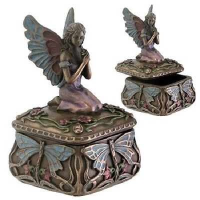 Art Nouveau Dragonfly Fairy Jewelry Keepsake Box Small Trinket Collectible