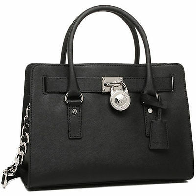 NWT MICHAEL KORS Hamilton LARGE  Satchel Tote Bag Purse Handbag BLACK