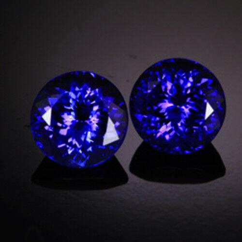 AAA!Top Color Natural 9mm Round Shape Purple Blue Tanzanitepair Loose Gemstone