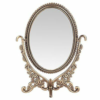 Antique Mirror With Roses Two Sided Oval Desktop Beauty Makeup Jewelry Vintage