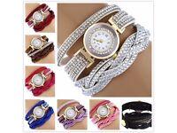 Fashion Women Watch Bracelet Crystal Leather Dress Analog Quartz Wrist Watches diamante