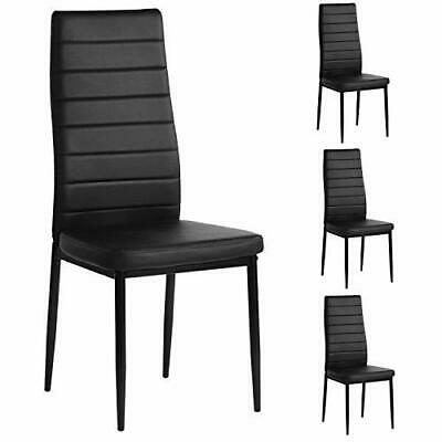 Dining Chairs Set of 4  Faux Leather High Back Softly Padded Seat  Black