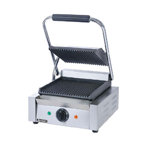 Adcraft Sg-811 Countertop Single Sandwich Grill With Grooved Plates