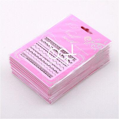30 Sheets 3D Black Lace Design Nail Art Stickers Decals || 30 Different Design