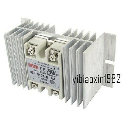 Single Phase Solid State Relay Ssr 10a 3-32v Dc 90-480v Ac With Heat Sink