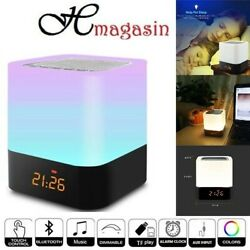LED Bluetooth Speaker Touch Night Light Music Smart Desk Lamp Alarm Clock Player