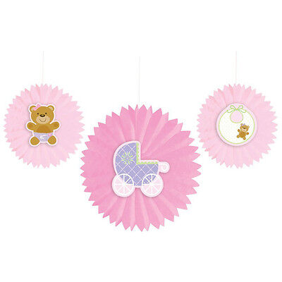 R FAN DECORATIONS (3) ~ Shower Party Supplies Girl Room Bear (Teddy Bear Party Supplies)