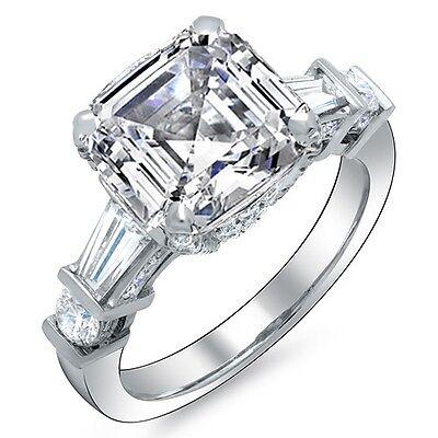 1.80 Ct Asscher Cut Channel & Micro Pave Diamond Engagement Ring H,VVS1 GIA 14K