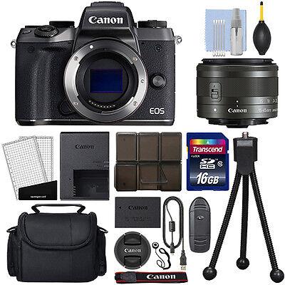 Canon EOS M5 Mirrorless Digital Camera with 15-45mm STM Lens Black + 16GB Kit