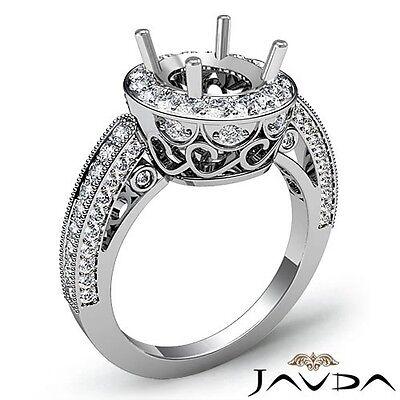 Halo Pave 1Ct Diamond Milgrain Engagement Oval Semi Mount Platinum Filigree Ring