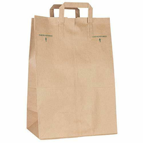 Stock Your Home 70 Lb Kraft Brown Paper Bags with Handles (50 Count)