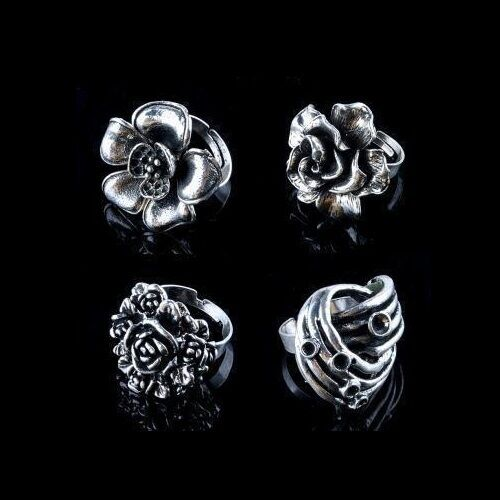 Wholesale Lot 12 Vintage Style Mixed Adjustable Silver Tone Iron Cocktail Rings