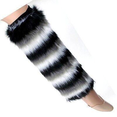 White Fur Leg Warmers (NEW FLUFFY FAUX FUR BOOT CUFF BLACK GRAY WHITE STRIPED FURRY LEG WARMERS)
