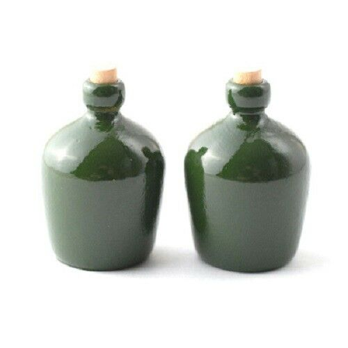 Dollhouse Miniature Green Carboy Jugs Bottles Set of 2 1:12 Scale demijohns