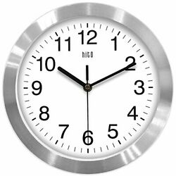 hito Modern Silent Wall Clock Non Ticking 10 inch Excellent Accurate Silver