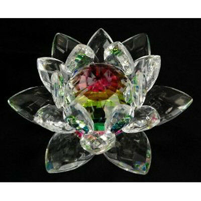 5 inch Rainbow Crystal Lotus Flower Feng Shui Home Decor with Gift Box