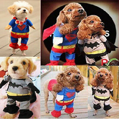Pet Dog Halloween Clothes Superman Batman Custome Cosplay Cat Outfit Party Coat](Batman Cat Outfit)