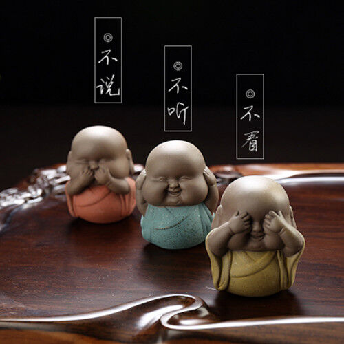 "Color sand ""3 NO"" young monk furnishing articles Collection set of 3 tea pet NBM"