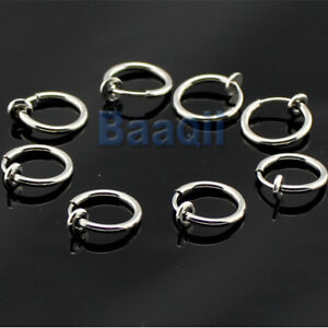 8-Clip-On-Fake-Piercings-Rings-Ear-Nose-Lip-Earrings-Body-Jewellery