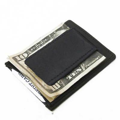 BLACK LEATHER MAGNETIC MONEY CLIP Credit ID Wallet Mens Front Pocket GIFT IDEA
