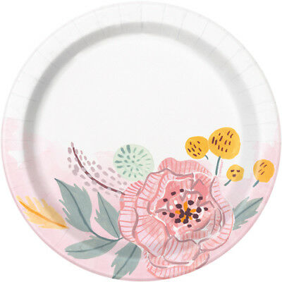 WEDDING AND BRIDAL Painted Floral SMALL PAPER PLATES (8) ~ Party Supplies Cake