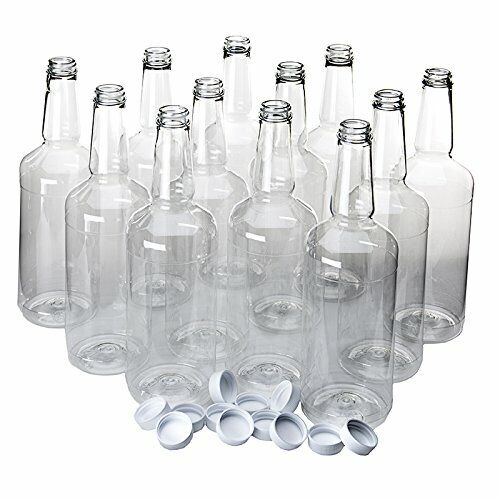 Dozen Long Neck Quart Plastic Bottles with Screw on Lids