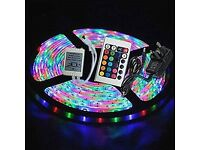 New 5 Meters 12V RGB Strip Light Kit With 300xSMD3528 LEDs + Remote Control + Power Adapter