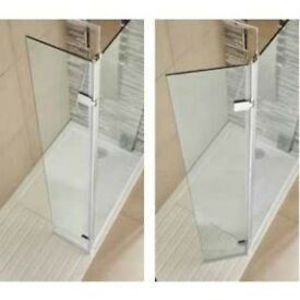 Walk in Shower Screen, 8mm Glass with 350mm Hinged Return Panel