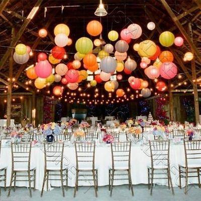 10X Round Paper Lanterns Wedding Party with Led Light Decoration USA